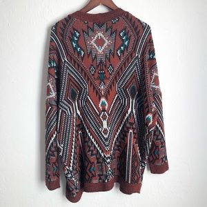Urban Outfitters Long Aztec Design Cardigan